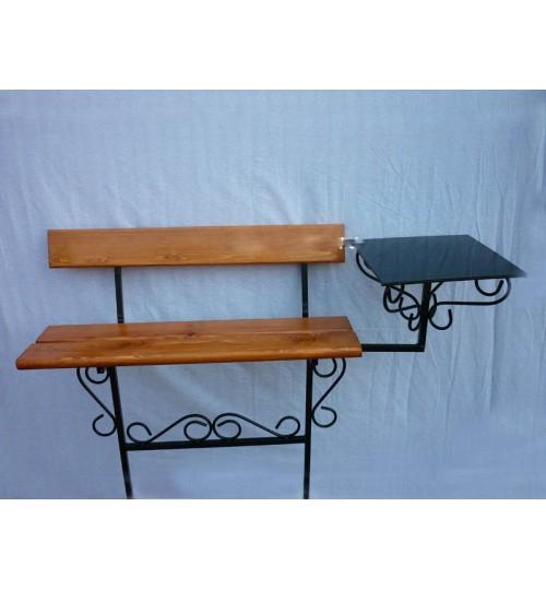 Скамейка на кладбище B-007 – со спинкой и столиком