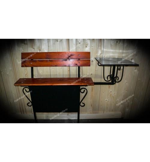 Скамейка на кладбище B-014 – со спинкой и столиком